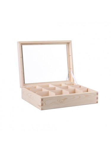 ČistéDřevo Dřevěná šperkovnice V (12 přihrádek)