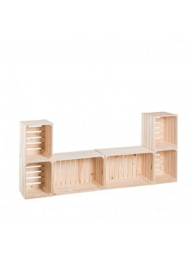 ČistéDřevo Dřevěné bedýnky obývací stěna 80 x 180 x 30 cm
