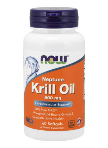 NOW Krill Oil Neptune (olej z krilu), 500 mg, 60 softgel kapslí