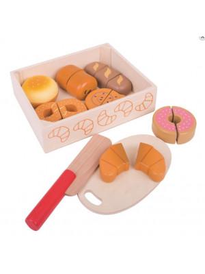 Bigjigs Dřevěné krájecí pečivo v krabičce