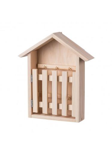 ČistéDřevo Dřevěný věšák na klíče - domeček s vrátky