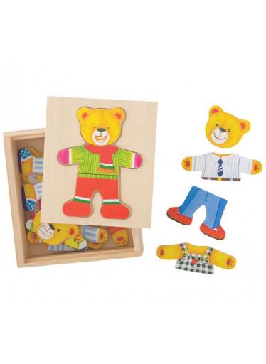 Bigjigs Dřevěná vkládací puzzle Medvěd