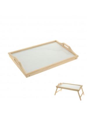 Orion Dřevěný servírovací tác do postele s bílým dnem