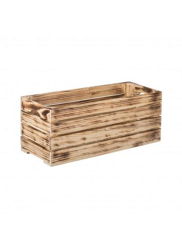 ČistéDřevo Opálená dřevěná bedýnka 60 x 22 x 24 cm