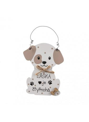 ČistéDřevo Dřevěná cedulka láska je čtyřnohá - pes