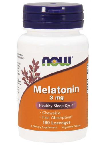 NOW® Foods NOW Melatonin 3 mg, 180 pastilek