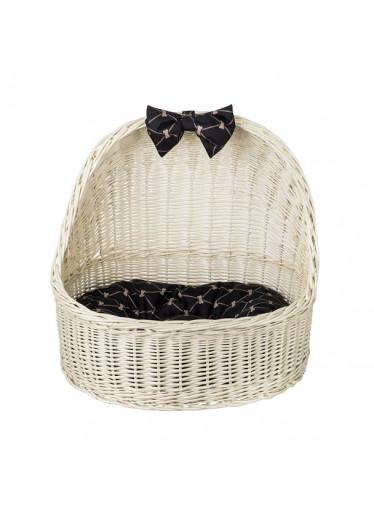 ČistéDřevo Proutěný pelíšek pro psa se stříškou - bíly s černou mašlí