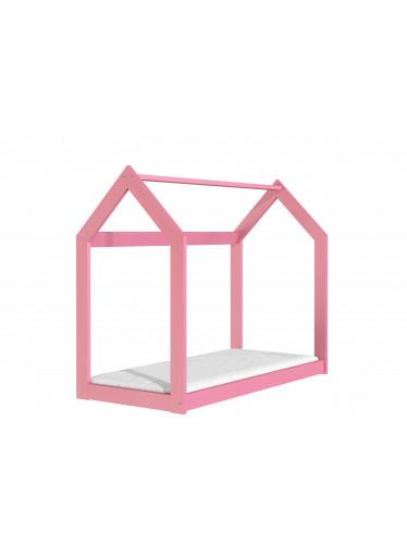 ČistéDřevo Dřevěná postel domeček 160 x 80 cm růžová + rošt