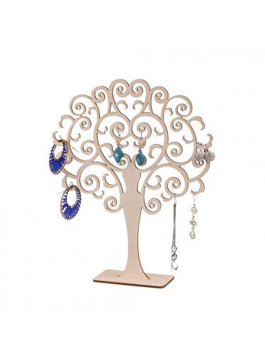 ČistéDřevo Dřevěný kulatý stromeček na šperky