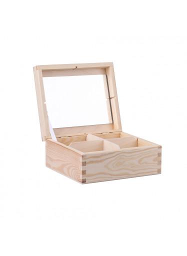 ČistéDřevo Dřevěná šperkovnice V (4 přihrádky)