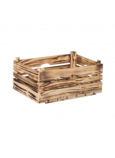 ČistéDřevo Opálená dřevěná bedýnka 40 x 26 x 18 cm
