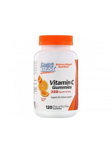 Doctor's Best Vitamin C, 120 gumových vegan bonbónů s příchutí pomeranče