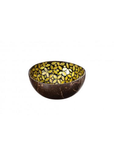 ČistéDřevo Kokosová miska s žlutými květinami