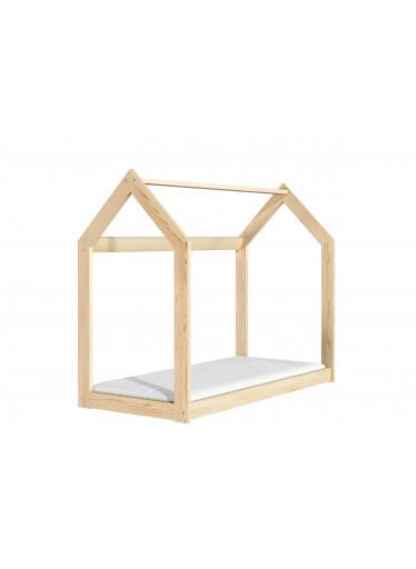 ČistéDřevo Dřevěná postel domeček 160 x 80 cm přírodní + rošt