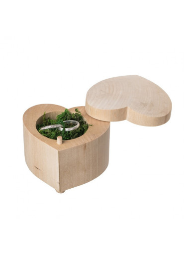ČistéDřevo Krabička na snubní prsteny - srdce