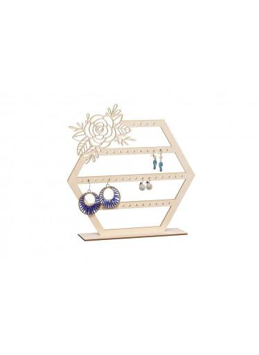 ČistéDřevo Dřevěný stojánek s růží na šperky