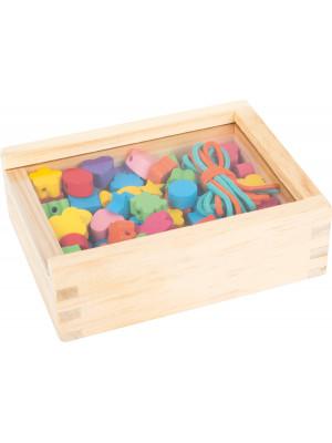 Small foot Dřevěné navlékací korálky v krabičce