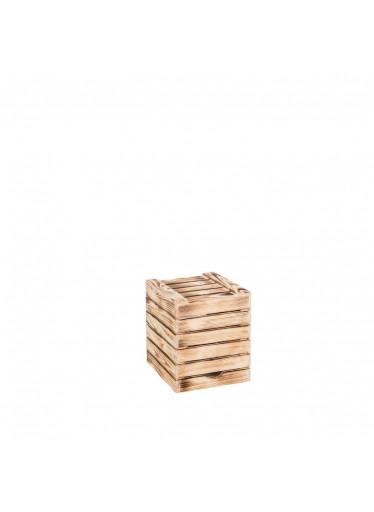 ČistéDřevo Dřevěná opálená bedýnka sedák 30x35x30 cm