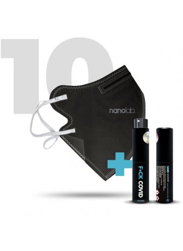 10 x Český bezpečný nano respirátor FFP2 černý