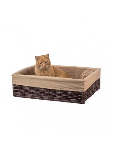 ČistéDřevo Proutěný pelíšek pro kočku s poduškou