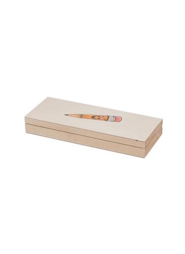 ČistéDřevo Dřevěná krabička na psací potřeby s tužkou