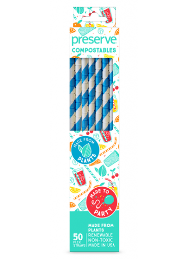 Kompostovatelná brčka Preserve 50 ks Modrá