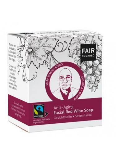 Fair Squared Tuhé čisticí pleťové mýdlo s červeným vínem BIO (2 x 80 g + bavlněný sáček) - s anti-aging efektem