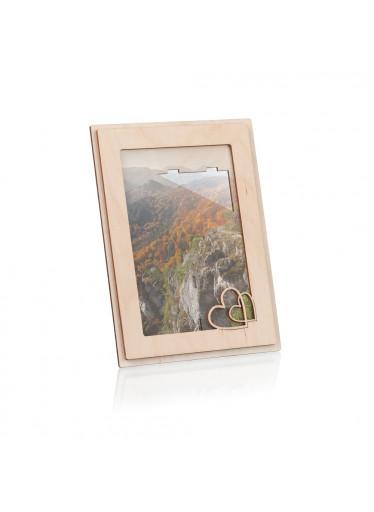 ČistéDřevo Dřevěný fotorámeček se srdíčky