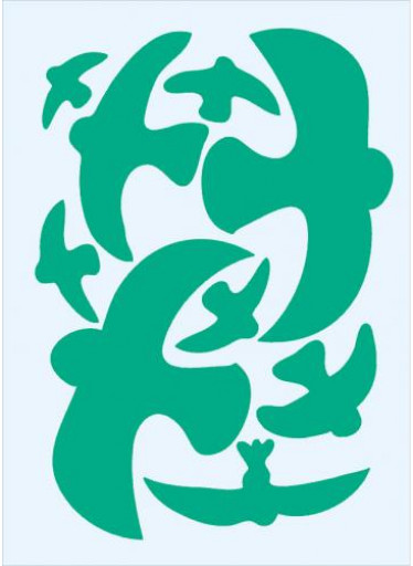 Ptačí siluety na sklo 9 ks - zelené