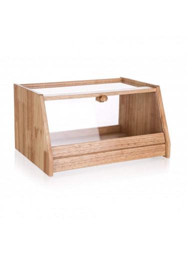 ČistéDřevo Chlebník dřevěný BRILLANTE 38 x 28 x 20 cm s plastovým víkem
