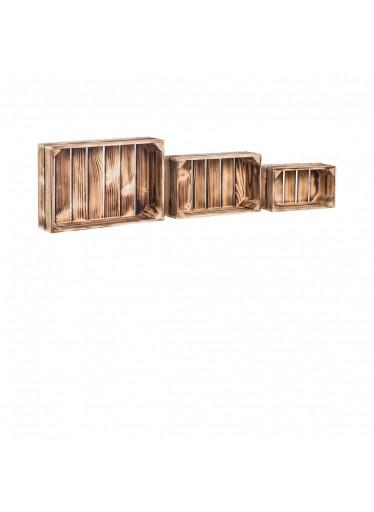 ČistéDřevo Dřevěné opálené bedýnky polička smrk