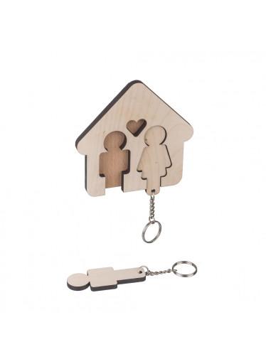ČistéDřevo Dřevěný věšák na klíče - pro páry