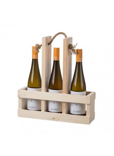 ČistéDřevo Dřevěný nosič na tři láhve