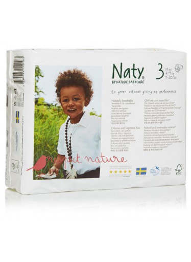 Naty Plenky Nature Babycare Midi 4-9 kg (31 ks)