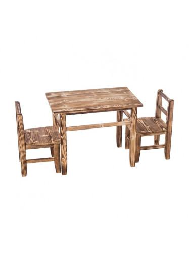 ČistéDřevo Opálený dětský stoleček s židličkami