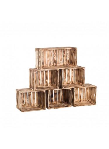 ČistéDřevo Dřevěné opálené bedýnky knihovna 140x90x24 cm