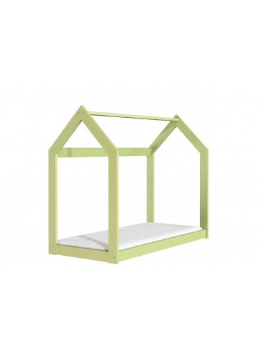 ČistéDřevo Dřevěná postel domeček 160 x 80 cm zelená + rošt