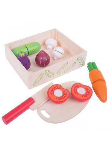 Bigjigs Dřevěná krájecí zelenina v krabičce