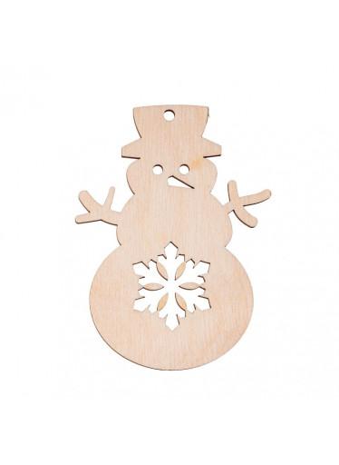 ČistéDřevo Dřevěná vánoční ozdoba - sněhulák