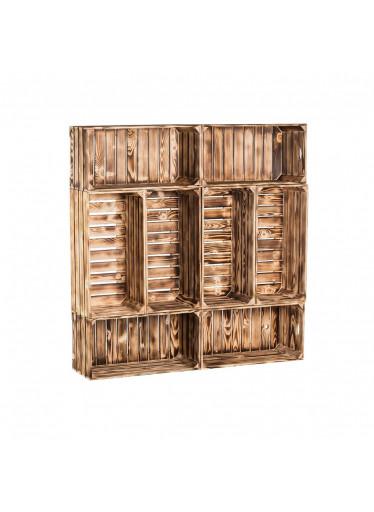 ČistéDřevo Dřevěné opálené bedýnky knihovna 120x120x24 cm