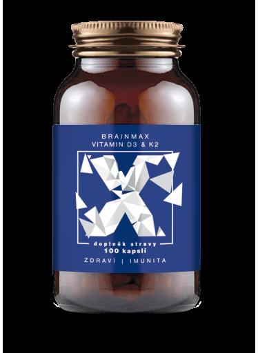 BrainMax Vitamin D3 & K2, D3 5000 IU / K2 jako MK7 150 mcg, 100 kapslí