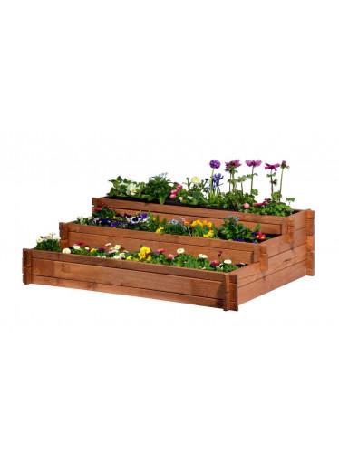 ČistéDřevo 3-patrový dřevěný záhon 100 x 88 x 36 cm