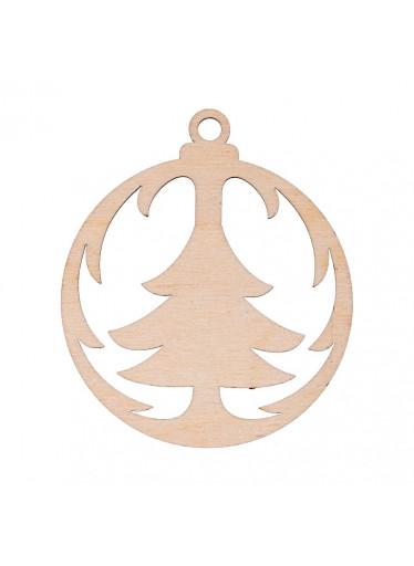 ČistéDřevo Dřevěná vánoční ozdoba - baňka se stromečkem