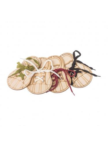 ČistéDřevo Dřevěná bota - zavaž si tkaničku (set 4ks)