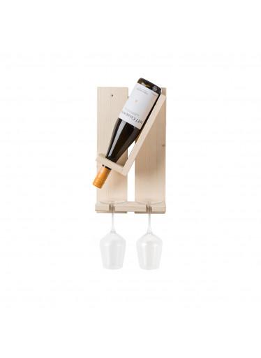 ČistéDřevo Nástěnný stojan na láhev a na dvě sklenice