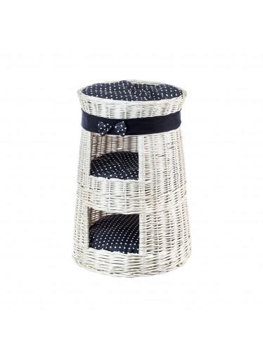 ČistéDřevo Proutěný pelíšek s boudou dvoupatrový bilý - obšitý