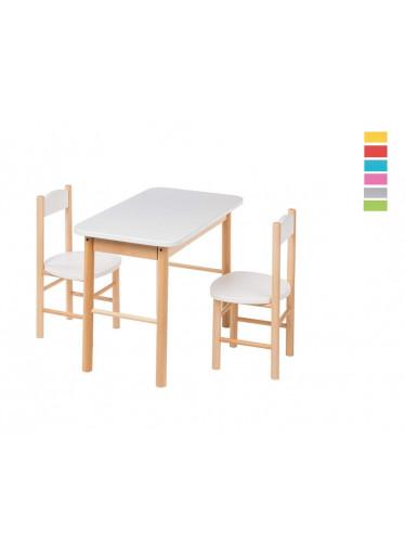 ČistéDřevo Barevný dětský stoleček s židličkami