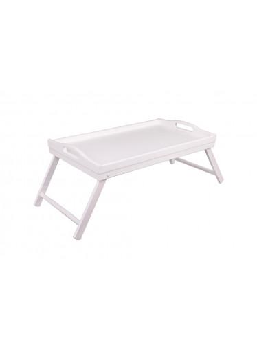 ČistéDřevo Dřevěný servírovací stolek do postele 50x30 cm bílý