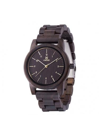 ČistéDřevo Dřevěné hodinky Uwood - tmavě hnědé