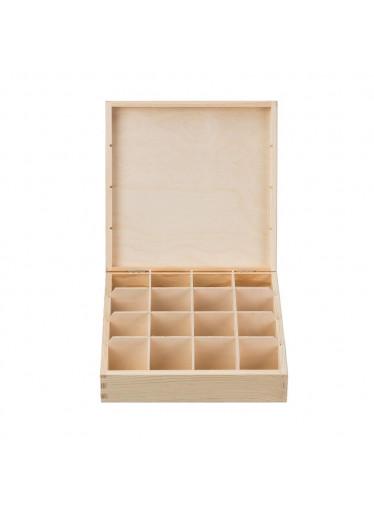 ČistéDřevo Dřevěná krabička na čaj (16 přihrádek)